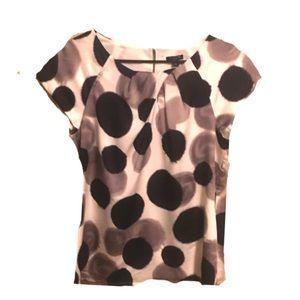 New Ann Taylor Silk Polka Dot Cap Sleeve Blouse